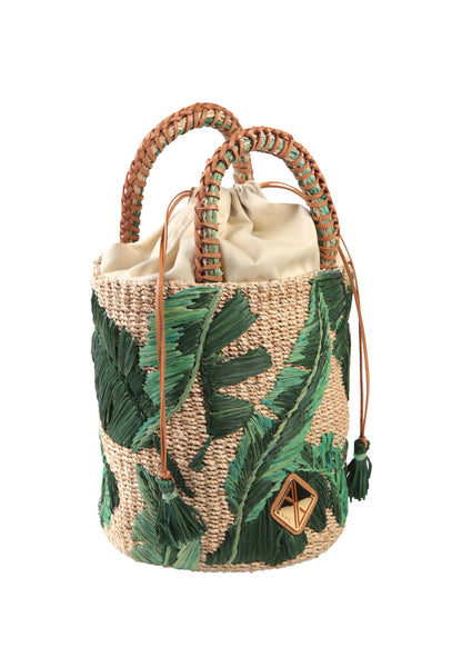 Palm Embroidered Nana Bucket Bag