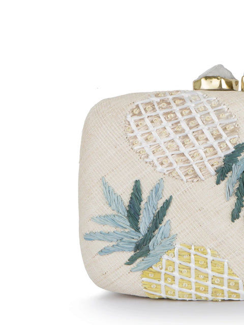 Pineapple Pina Tres Raffia Clutch