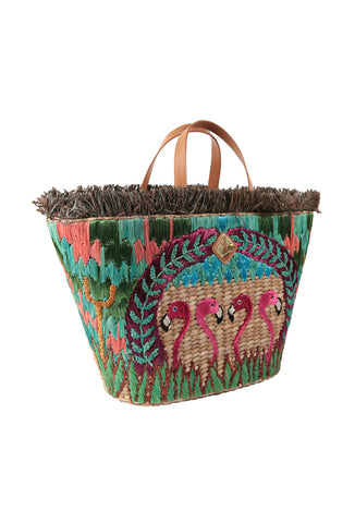 Multicoloured Flamingo Woven Basket Bag