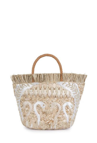 White Flamingo Basket Bag