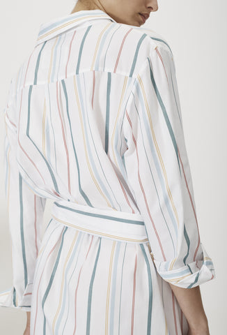Mixed Stripe Long Sleeve Cotton Shirt Dress