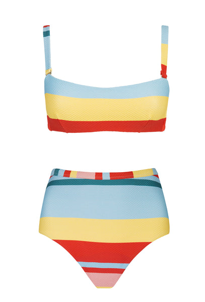 Multi Bold Stripe High Waisted Bikini - FINAL SALE ITEM