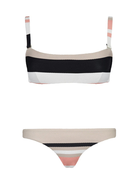 Neutral Bold Stripe Wrap Bandeau Bikini - FINAL SALE ITEM