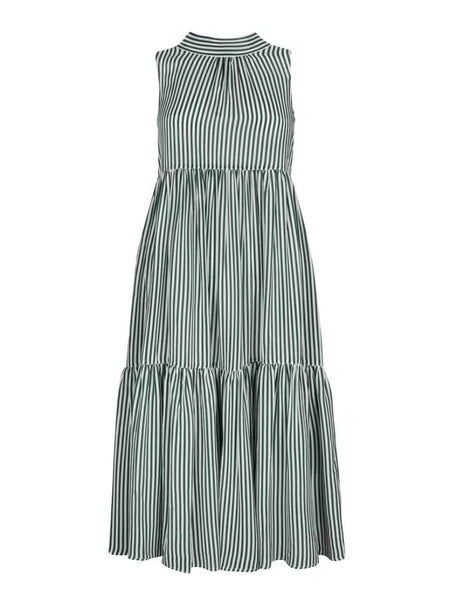 Olive Line Stripe Silk Tie Neck Dress