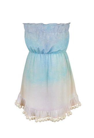 Love At Dawn Strapless Mini Dress With Pom Poms