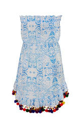 The Midsummers Sky Strapless Dress with Pom Poms