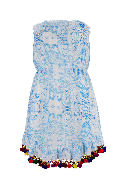 The Midsummers Sky strapless dress with pompoms