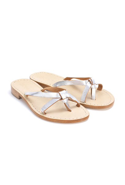 Silver Slip On Leather Sandals 68K