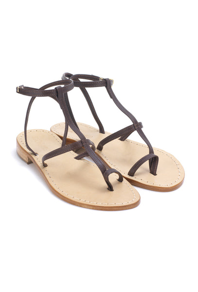 Dark Brown Leather Gladiator Sandals - NP36