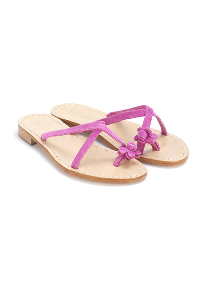 Pink Suede Flower Thong Sandals - 88