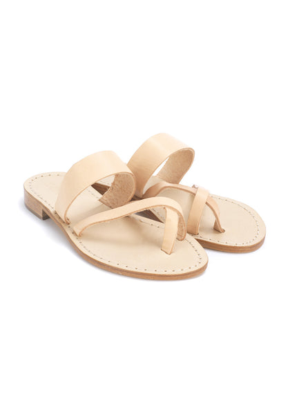 Tan Leather Slip On Sandals - 12