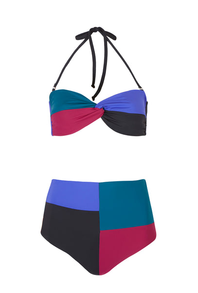 Black Colour Block High Waisted Bandeau Bikini