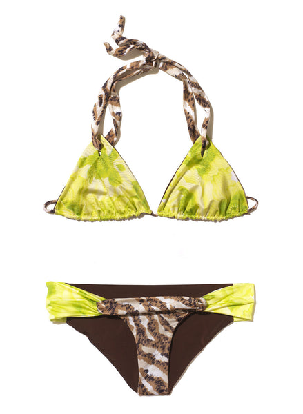 Green-Brown Triangle Bikini