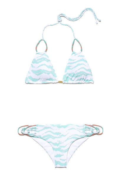 Turquoise and White Zebra Print Triangle Bikini