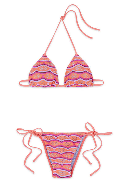Belisa Pink and Orange Triangle Bikini