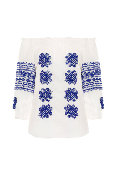 Cream Cotton and Navy Embroidered Off The Shoulder Bolshoi Top