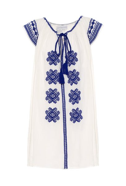 Cream Cotton and Navy Blue Embroidered Bolshoi Dress