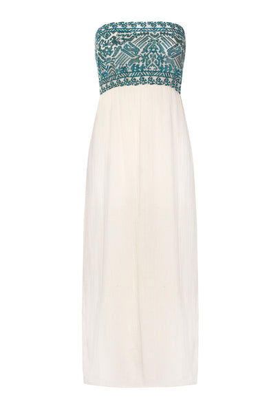 Cream and green embroidered bandeau Escobar dress
