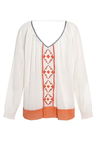 Cream and Orange Mezcal Beaded Top
