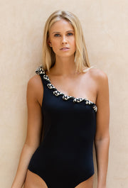 Black Temara One Shoulder One Piece