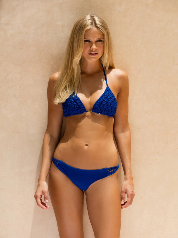Blue Knotted Haddan Triangle Bikini - SALE