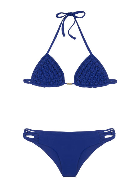 Blue Knotted Haddan Triangle Bikini
