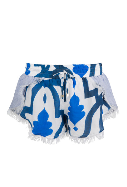 Blue Printed Linen Feiruz Shorts