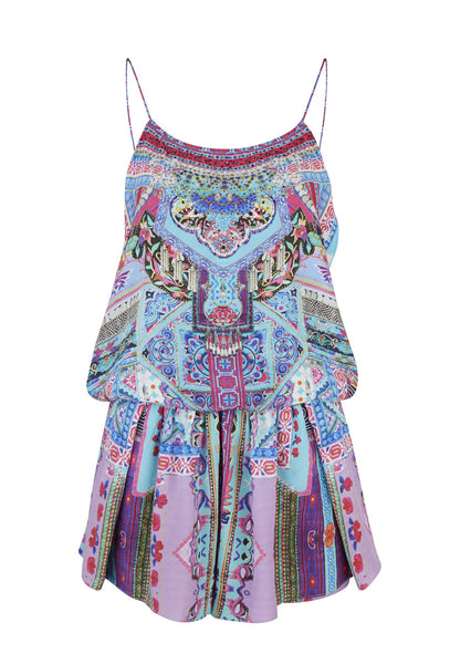 Blue Festival Friends Silk Playsuit
