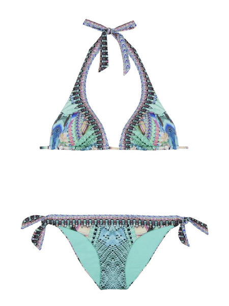 Hung Up On You Tab Tie Halter Bikini
