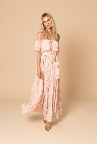 Peach Careless Whisper Off The Shoulder Dress