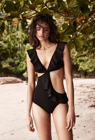 Black Middler Frill One Piece