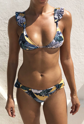 Yellow Majorelle Floral Ruffle Bikini - FINAL SALE ITEM