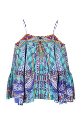 Blue Divinity Dance Tartan Drop Shoulder Top