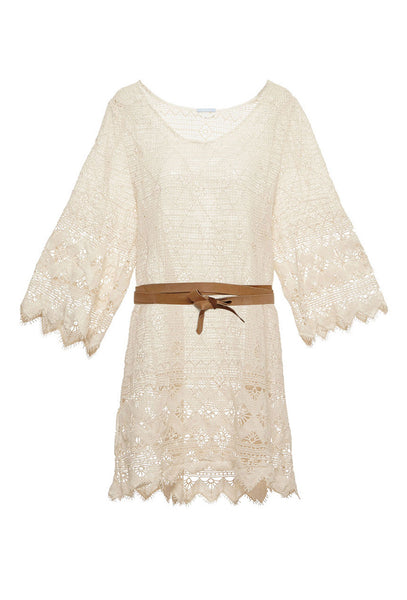 Havanera Georgia Cream Crochet Lace Dress