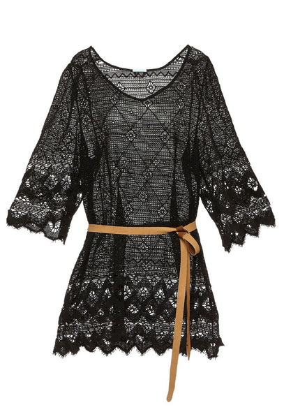 Havanera Georgia Black Crochet Lace Dress