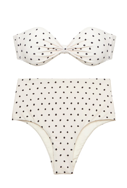 White Polka Dot High Waisted Bandeau Bikini