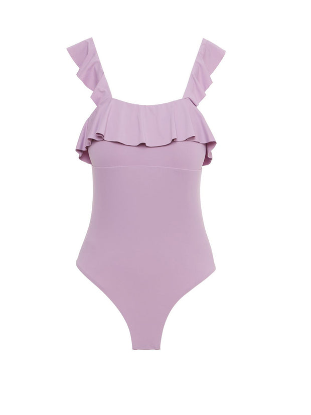 Lavender So Solid Ruffle One Piece