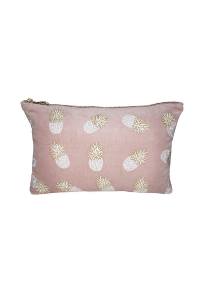 Mauve Ananas Velvet Clutch Bag