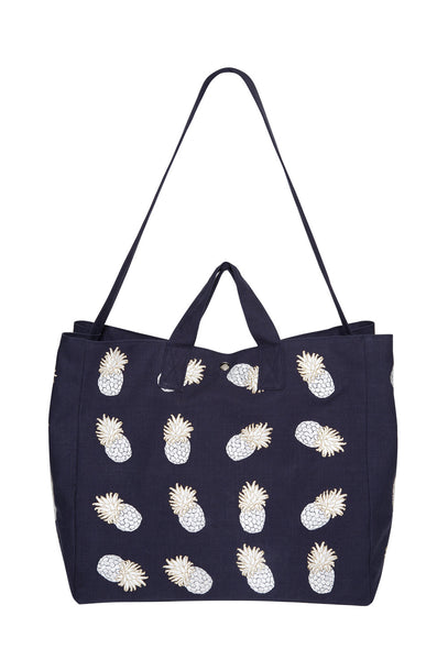 Navy Ananas Beach Bag