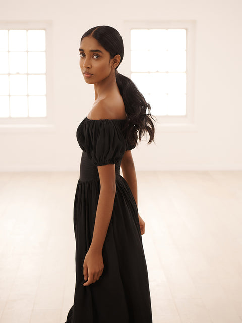 Black Silk Hestia Dress