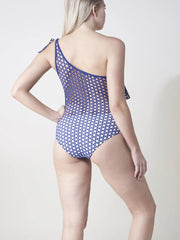 Navy Irene One Shoulder Laser Cut One Piece