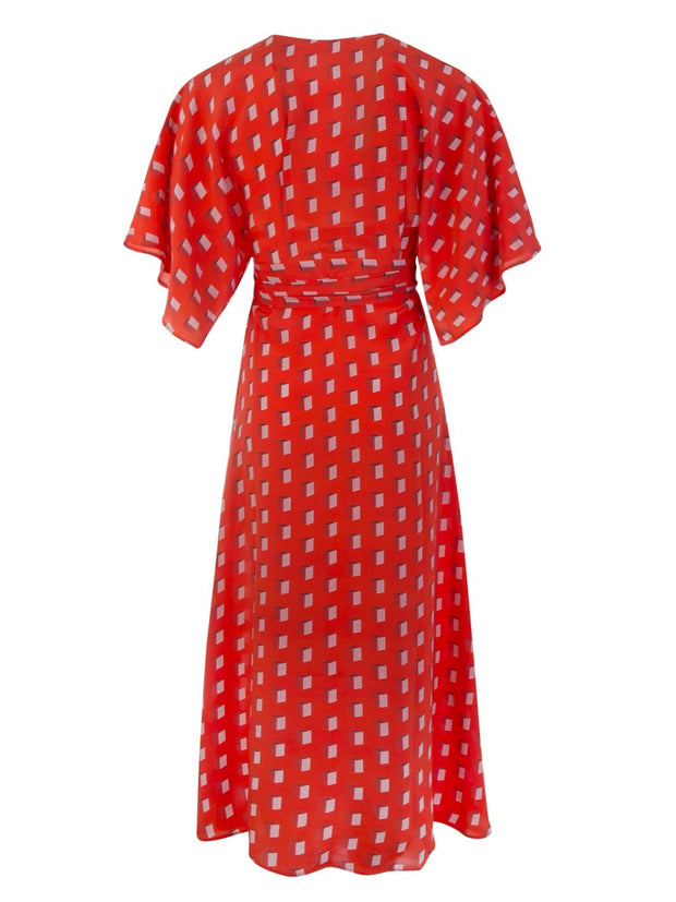 Red Silk Modica Wrap Dress