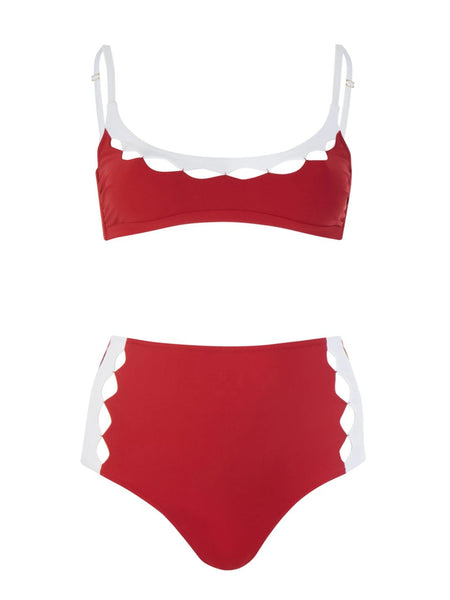 Red And White Diamond High Waisted Bikini