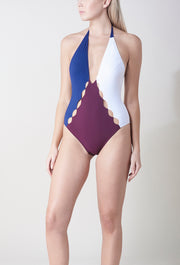 Colour Block Thalia Laser Cut One Piece