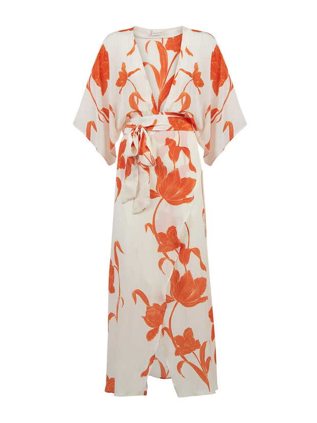 Floral Silk Wrap Dress