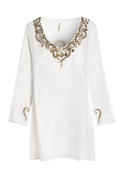 White And Gold Embroidered Kaftan