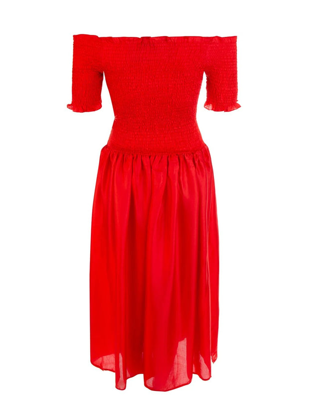 Red Sabine Smocked Dress - Final Sale
