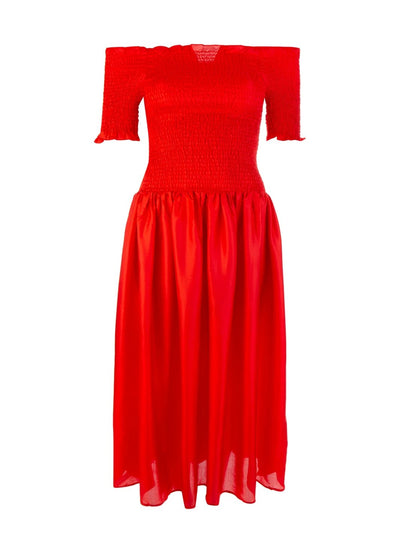 Red Sabine Smocked Dress