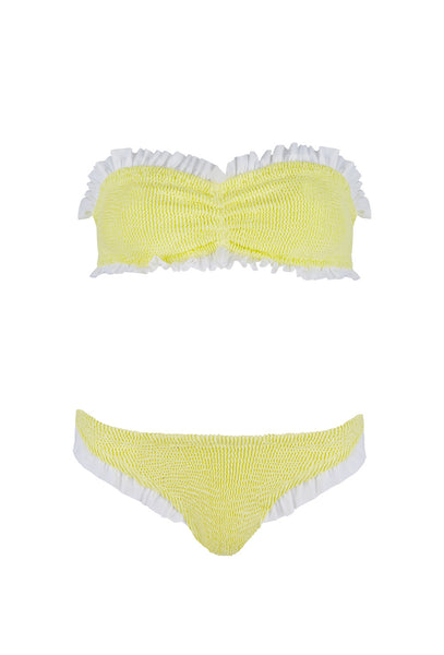 Yellow And White Frill Bandeau Lucille Bikini
