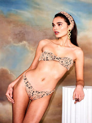 Metallic Copper Leopard Jean Bikini
